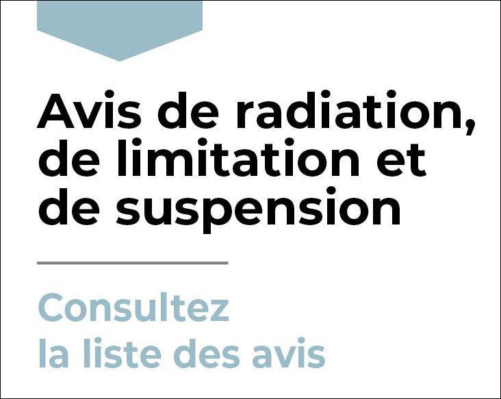 Avis de radiation